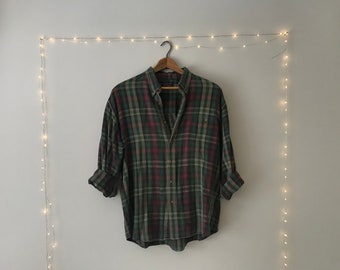 Vintage 90's Grunge Green/ Red Flannel
