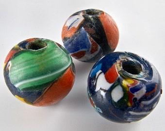 Vintage millefiore round beads. India. 15x18-15x14mm. Pkg of 4. b1-495
