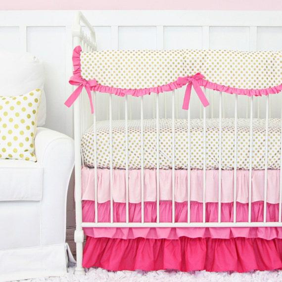 pink and gold baby bedding pink ruffled girl crib set. Black Bedroom Furniture Sets. Home Design Ideas