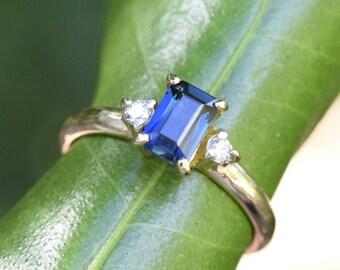One carat sapphire and diamond ring, sapphire engagement ring, classic emerald cut, shoulder stones, gem multi stone multistone, GVS diamond