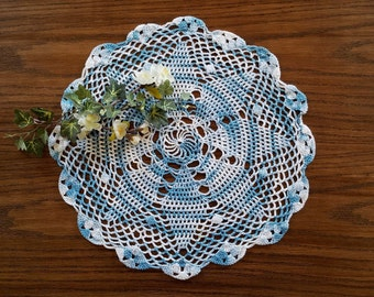 Vintage Blue Crochet Doily, Large 14 Inch Medallion Crocheted Doily, Table Topper