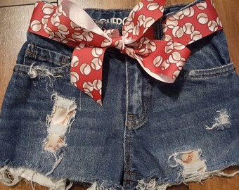 3T Girls Distressed Denim Baseball Shorts