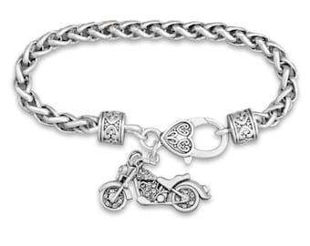 Motorcycle Rhinestone Charm Bracelet