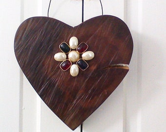 Rustic Solid Maple Heart Wall Hanging