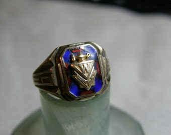 Vintage Herff Jones woman's University class ring - class of 1935 - 10K gold and sterling