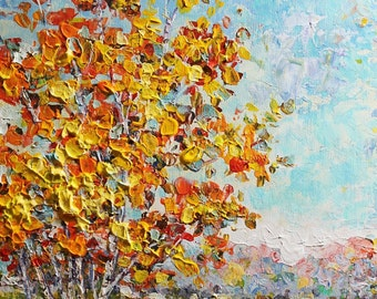 Original Acrylic Painting- Autumn in the Morning- Modern, Contemporary, Palette Knife 8x10