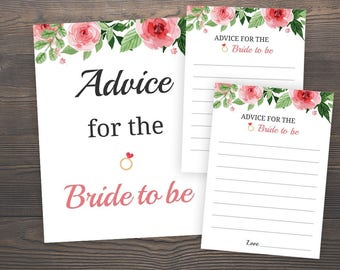 Advice for the bride to be, Bride Advice Sign, Bride Advice Cards, Floral Advice Cards for Bride and Groom, Bridal Shower Advice, J003