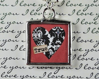 True Love Necklace Heart Pendant Valentines Jewlery Soldered Charm