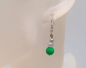 Green Pearl Earrings white and neon