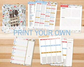 DIY Recipe Binder Printables, Print Your Own Inserts, Letter Sized 3 Ring Binder Kit, Home Organizer