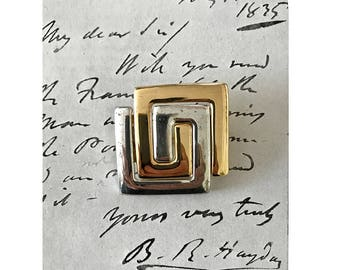 Givenchy Signed Brooch, Vintage Gold and Silver Tone Pin, Geometric Jewellery, Classic Givenchy