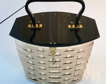 Dorset Rex Fifth Avenue Brass Basket Weave Black Lucite Purse