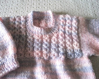 Knitted Baby Sweater, Pullover 3-6 Months, Knitted Multi Color Baby Sweater, Baby Girl Sweater
