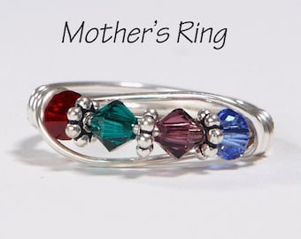 Mother's Ring 4 birthstones: Personalized Sterling Silver Mom's multistone Family Ring. Four Swarovski Crystals. Birthday, Valentine's Day