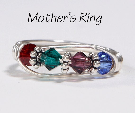 4 stone mother 39 s birthstone ring personalized sterling. Black Bedroom Furniture Sets. Home Design Ideas