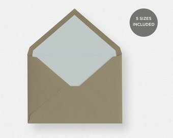 Envelope Liner Template | 5 Envelope Sizes Included Printable Instant Downloads | Green | No. EDN 5238