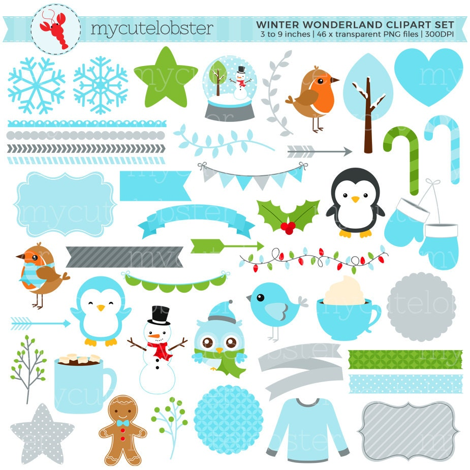 winter wonderland clipart set digital elements frames rh etsy com winter wonderland border clipart winter wonderland clipart free