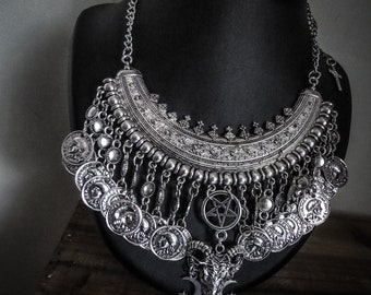 Tribal silver necklace Moon Baphomet