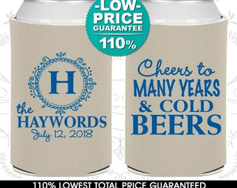 Wedding Coolies, Cheers To Many Years and Cold Beers, Monogram, Personalized Coolies, Custom Beer Coolies, Wedding Favors (C39)
