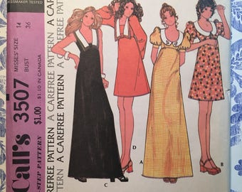 McCall's 3507 COMPLETE vintage pattern Misses' Dress in 4 versions Size 14/36 Copyright 1973