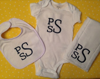 Monogram Baby Baby Bodysuit, Personalized Baby Gift, Initial Set, Monogrammed Bib, Monogrammed Burpcloth