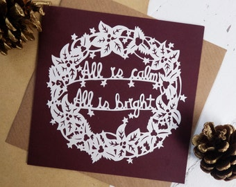Paper cut Christmas Card - Christmas Wreath Card - Papercut Wreath Card - All is Calm All is Bright Card -  Christmas Carol Card