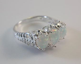 Tri Oval-Shaped White Lab Created Opal Ring