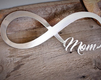 "Forever a Mom / Silver / Nursery Decor / Room Decor / Wall Decoration / Baby Shower Gift / Handmade (15 1/4"" x 6"")"