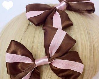 Kawaii Sweet Lolita Chess Chocolate inspired Brown and Pink Hair Bows