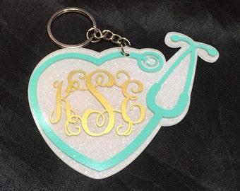 White Glitter Stethoscope Nurse/Doctor Monogrammed/Personalized Acrylic Keychain