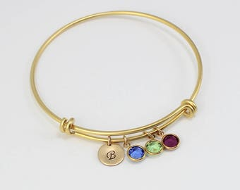 Mother's Day Gift, Birthstone Bracelet for Mom, Gold Bangle Charm Bracelets, Personalized Bangle, Birthstone Bracelet, Gift For Mom Grandma