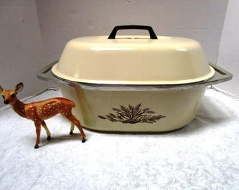 1 Vintage Club Roasting Pan w/ Lid, Almond w/ Brown Wheat Corn, Roaster Stock Pot, Pristine, Cooking, Heavy Duty Dutch Oven, Classic 2 piece