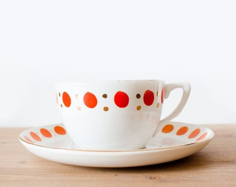 Amazing large vintage french cup and saucer - Orange, gold and white with dots porcelain - Shabby Chic