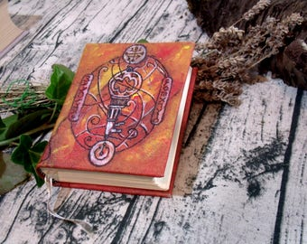 Small Key Journal 500p Ivory Paper, Hand Painted Grimoire, Blank Book of Shadows