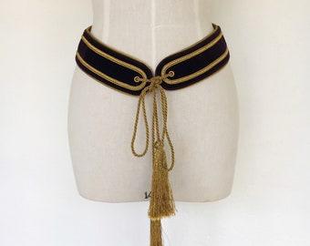 90s Roberto CAVELLI designer vintage tassel belt low slung wide gold rope purple velvet aubergine genuine leather large