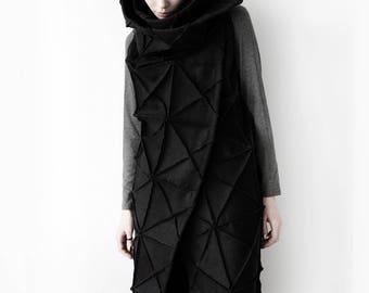 Origami coat/ extravagant coat/ avant garde sleeveless jacket/ origami jacket/ wool vest