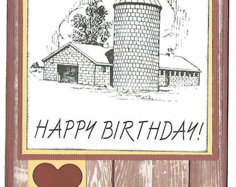 BIRTHDAY Greeting Card - FARM LOVE - Handmade A2 size with Envelope