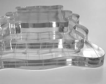 Acrylic Stamping Block, Gridlines or Without (3 Sizes Available)