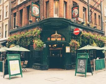 London Pub Photo, London Photography Print, British Pub, English Pub, Office Decor, Fine Art Print, Travel Photo, Wall Art, hunter green