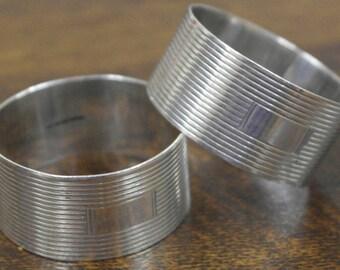 vintage sterling silver pair of napkin rings