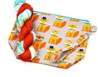 """PRE0RDER--""""What Does the Fox Say""""--Project bag and matching yarn kit"""