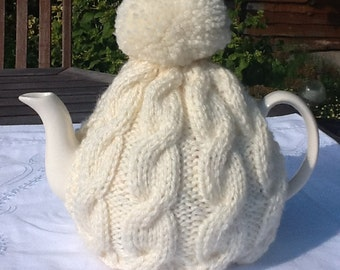 Aran knitted tea cosy  fits 4-6 cup pot
