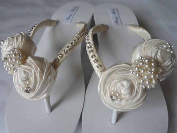 Flower Bridal White Wedding Rolled Flops Flops Bridesmaids Ivory Wedge Satin Flip Flip 8dwWEqqnO