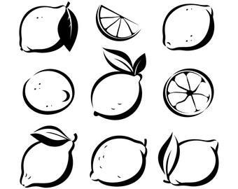 Lemon SVG, Citrus SVG, Lemon clipart, Outline,SVG,Graphics,Illustration,Vector,Logo,Digital