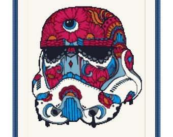 Stormtrooper Cross Stitch Pattern, Star Wars, PDF counted cross stitch pattern