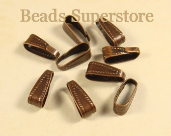 11 mm x 5 mm Antique Copper-Plated Brass Snap On Bail Connector - Nickel Free and Lead Free - 20 pcs