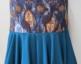 Blue turquoise color and mix pattern print with brown, blue, and cinnaon colors long length skirt or tube dress(vn108)