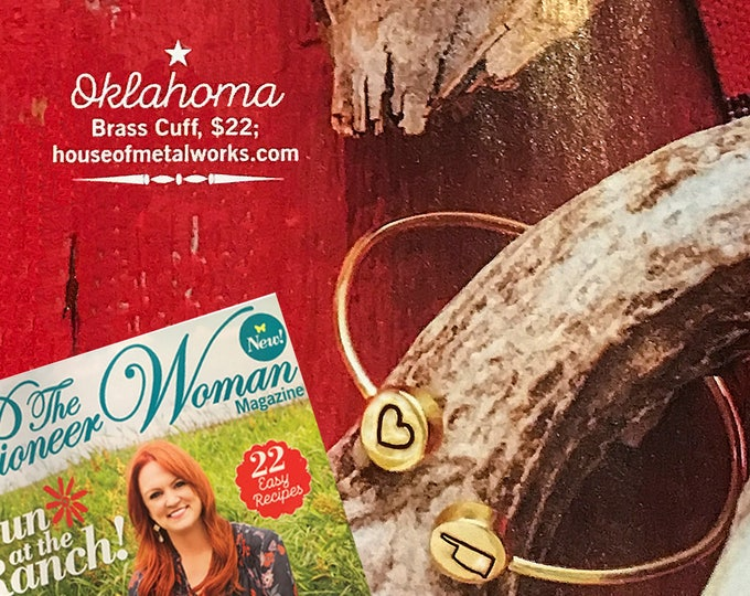 Featured listing image: As seen in Pioneer Woman Magazine ~ Personalized I Love My State Cuff Bracelet