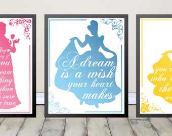 Disney Princess Decor, Princess Room Decor, Girl Nursery Prints, Art for Little Girls Room Digital Download, Ready to Print Each 8x10