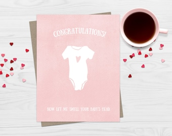 Funny Greeting Card New Baby Congratulations - Funny Card - Baby Shower Card - New Baby Love Card New Baby Smell Card Pink Blue